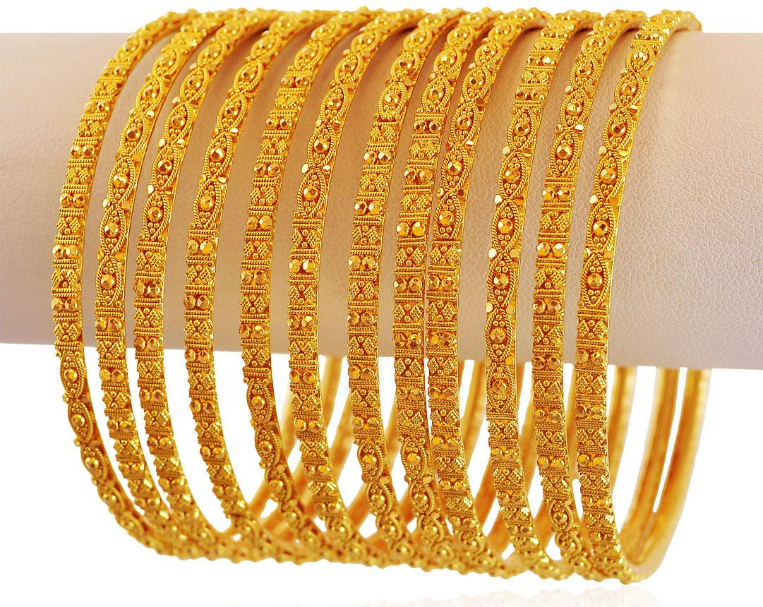 Gold Filigree Bangles Set 6pcs Bast18057 Bangles