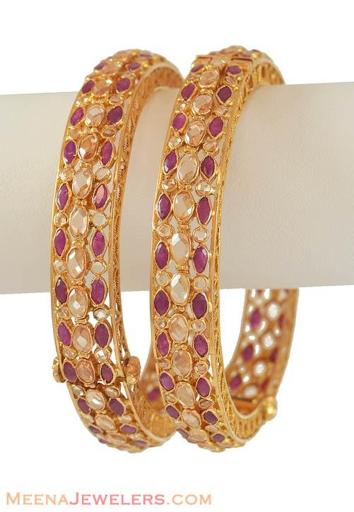22k Gold Antique Ruby Bangle Baan6389 Bangles