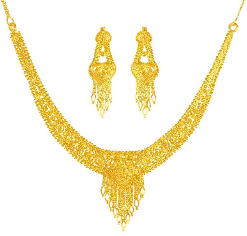 22 Karat Gold Necklace Earring Set Stgo20184 Sets