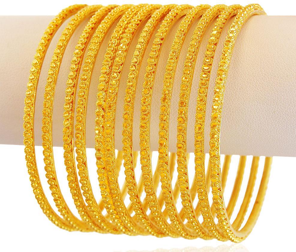 Yellow Gold Churi Set (8 pcs) - BaSt18071 - [Bangles > Set ...