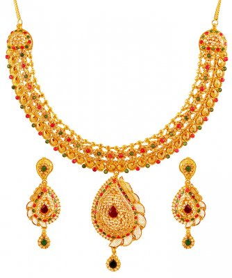 22k Gold Designer Bridal Set Stls18520 Sets Necklace Gold